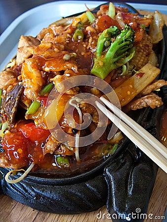 Chinese food in elegant restaurant