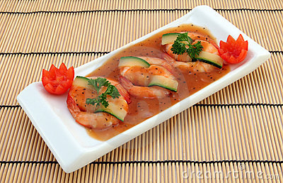 Chinese food - Gourmet broiled king tiger prawns