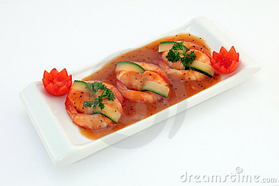 Chinese food - Gourmet broiled king tiger prawns on white
