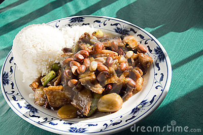 Chinese food roast pork  pepper sauce  peanuts