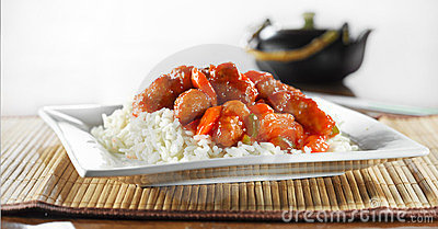 Chinese food - sweet and sour chicken wideshot