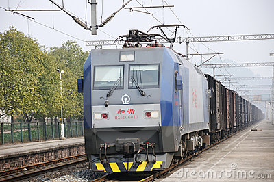 Chinese Freight train Editorial Stock Photo
