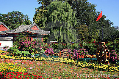 Chinese garden with colorful flowers