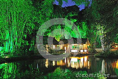 Chinese garden  at night Editorial Stock Image