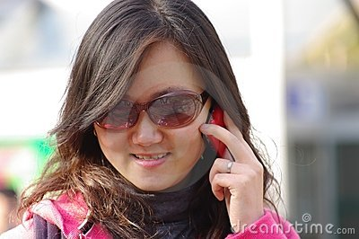 Chinese girl calling phone