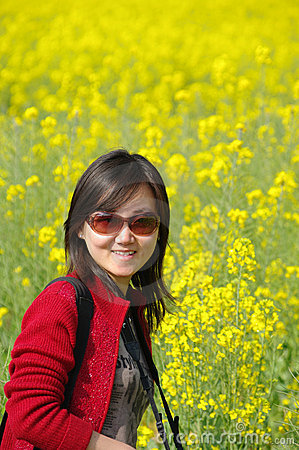 Chinese girl in cole flowers