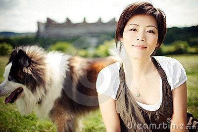 Chinese girl with a dog