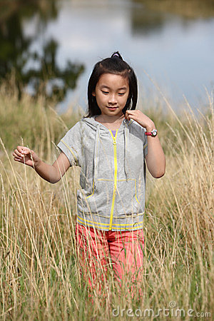 Chinese girl in field