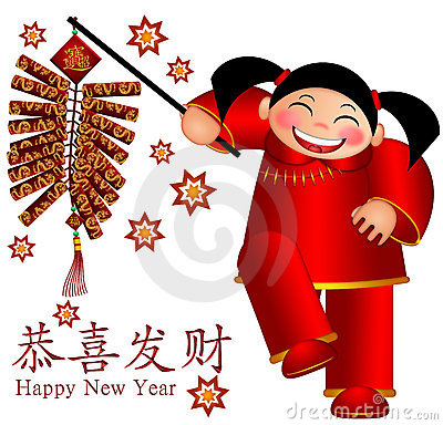 Chinese Girl Firecrackers Wishing Happiness an