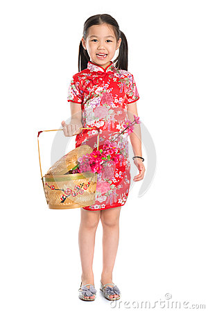 Free Chinese Girl Holding A Gift Basket Stock Photos - 33449633
