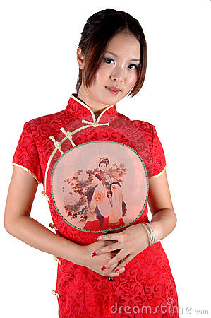 Free Chinese Girl In Traditonal Dress With Fan Stock Image - 16665601