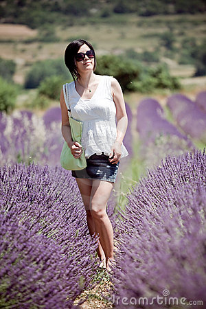 Chinese Girl in Lavender Field