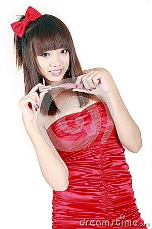 Free Chinese Girl Making Up Stock Photo - 12245110
