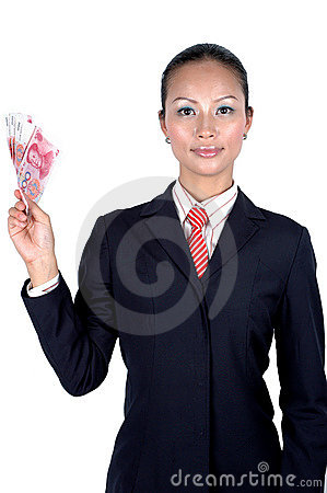 Chinese girl with money