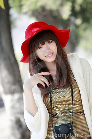 Chinese girl outdoor portrait