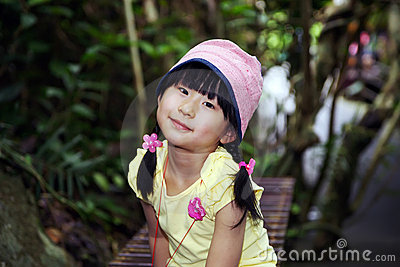 Chinese girl in the rainforest