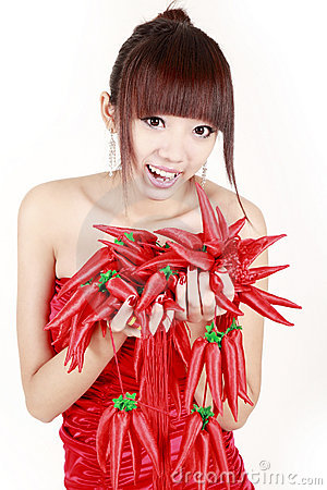 Chinese girl with red pepper