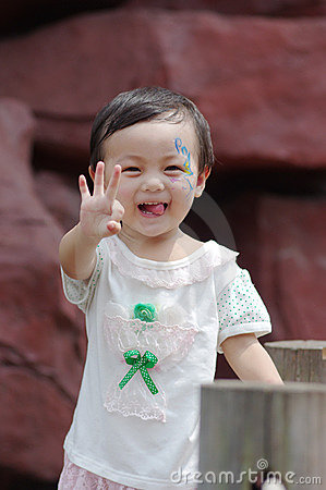 Chinese girl show a gesture