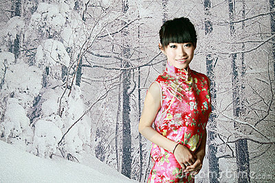 Chinese girl in the snow scenes