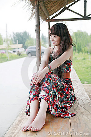 Chinese girl in the suburb