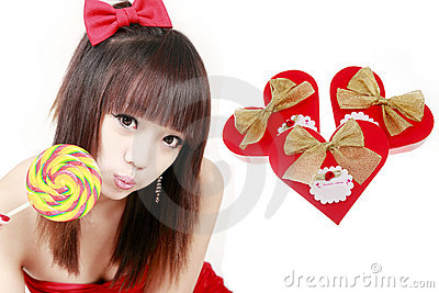 Chinese girl with sweet candy