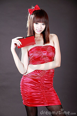 Chinese girl with a wallet