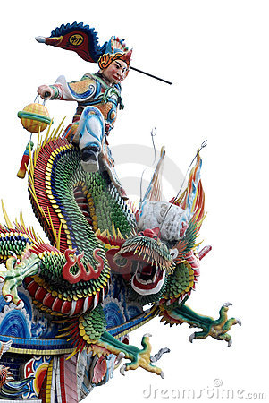 Chinese god ,dragon with white background .