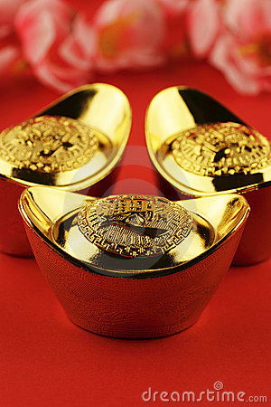 Free Chinese Gold Ingots Stock Images - 12691804