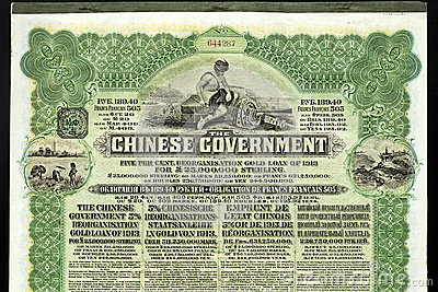 The Chinese Government Bond Loan 1913 Editorial Stock Photo