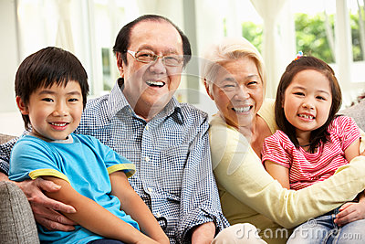 Chinese Grandparents With Grandchildren