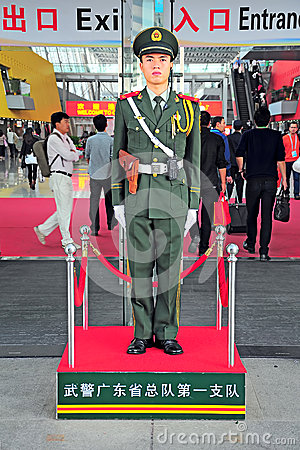 Chinese guard on duty at canton fair Editorial Image