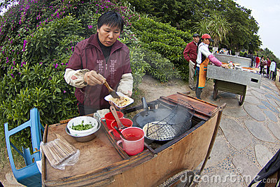 Chinese hawker in China Editorial Stock Photo