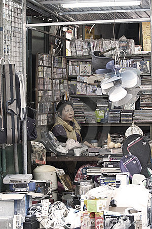 Chinese hawker in Hong Kong Editorial Photo