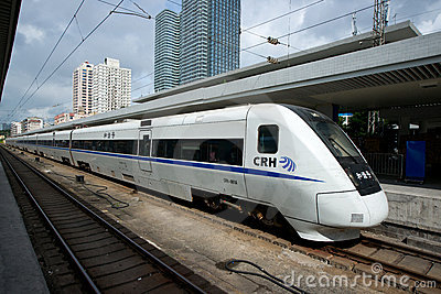 Chinese high speed train in station Editorial Stock Photo