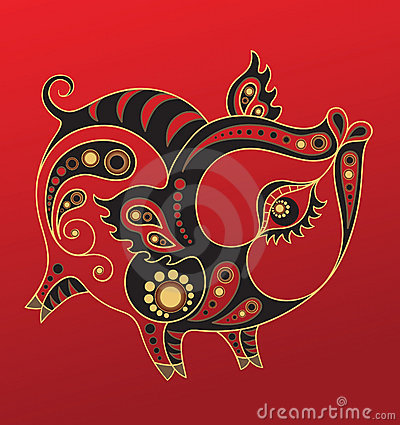 Free Chinese Horoscope. Year Of The Pig Stock Photos - 21483393