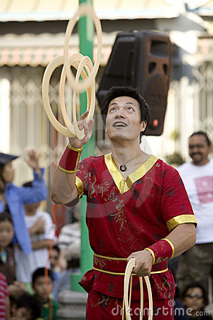 Chinese Juggler 4 Editorial Stock Photo
