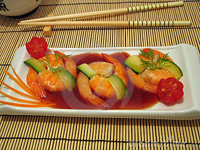 Chinese king prawns traditional restaurant starter meal