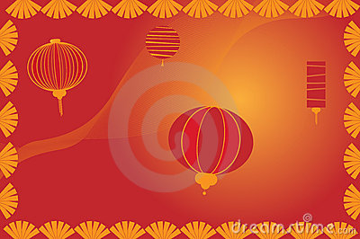 Chinese lantern background - vector