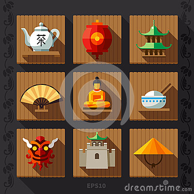 Free Chinese Lantern Flat Icon Vector Stock Image - 54384111