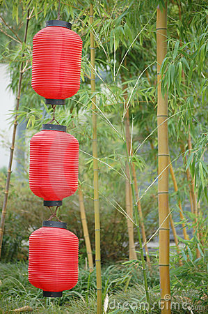 Chinese lanterns and bamboo