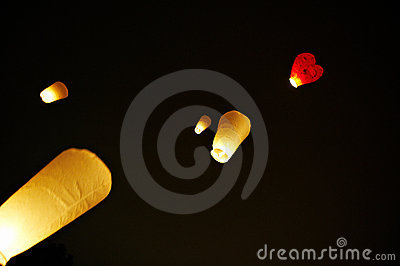 The Chinese lanterns in the night sky
