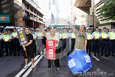Chinese Leader s Visit Sparks Protests in H.K. Editorial Stock Image
