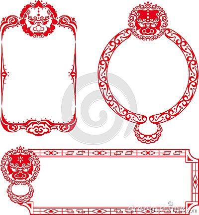 Chinese Lion border illustrations
