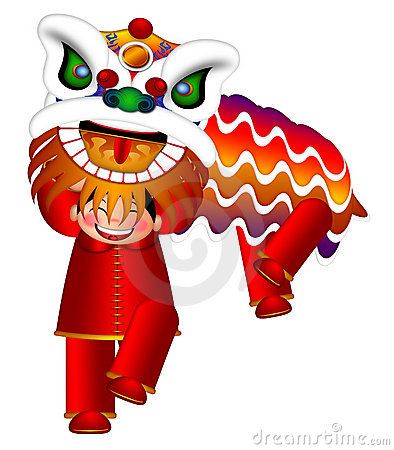 Chinese Lion Dance by Chinese Boys Illustration