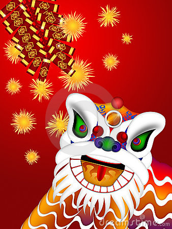 Chinese Lion Dance Head Firecrackers Illustration