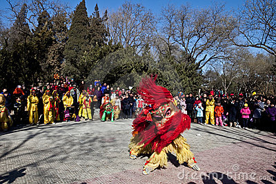 Chinese lion dancing during Chinese New Year Editorial Photo