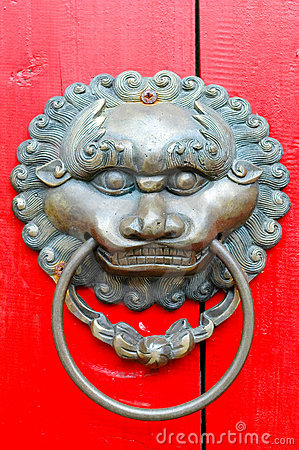 Chinese lion door knocker