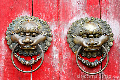 Chinese Lion Door Knockers Stock Photo - Image: 4614180
