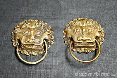 Chinese lion door knockers