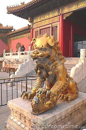 Chinese lion with his child